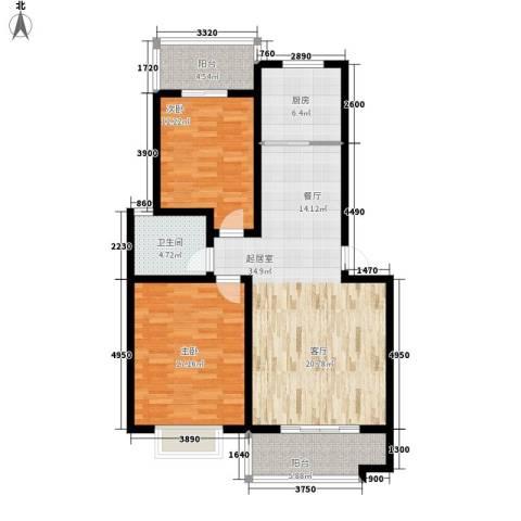 香河公寓2室0厅1卫1厨98.00㎡户型图