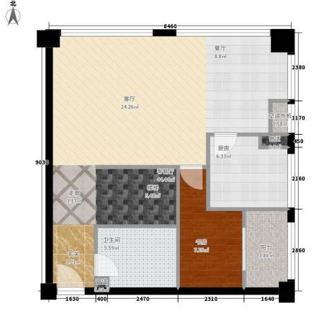 麓谷坐标1室1厅1卫1厨95.00㎡户型图