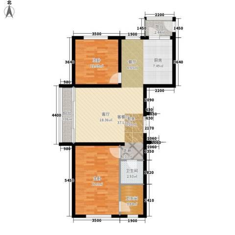 绿洲景芳2室1厅2卫0厨91.00㎡户型图