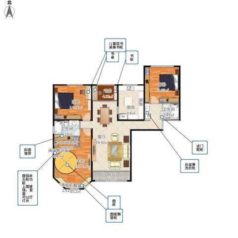 西华公馆4室1厅2卫1厨146.00㎡户型图