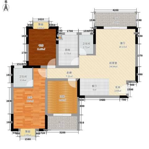凯姆国际3室0厅2卫1厨120.00㎡户型图