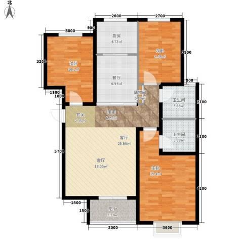 藏龙福地3室2厅2卫1厨122.00㎡户型图