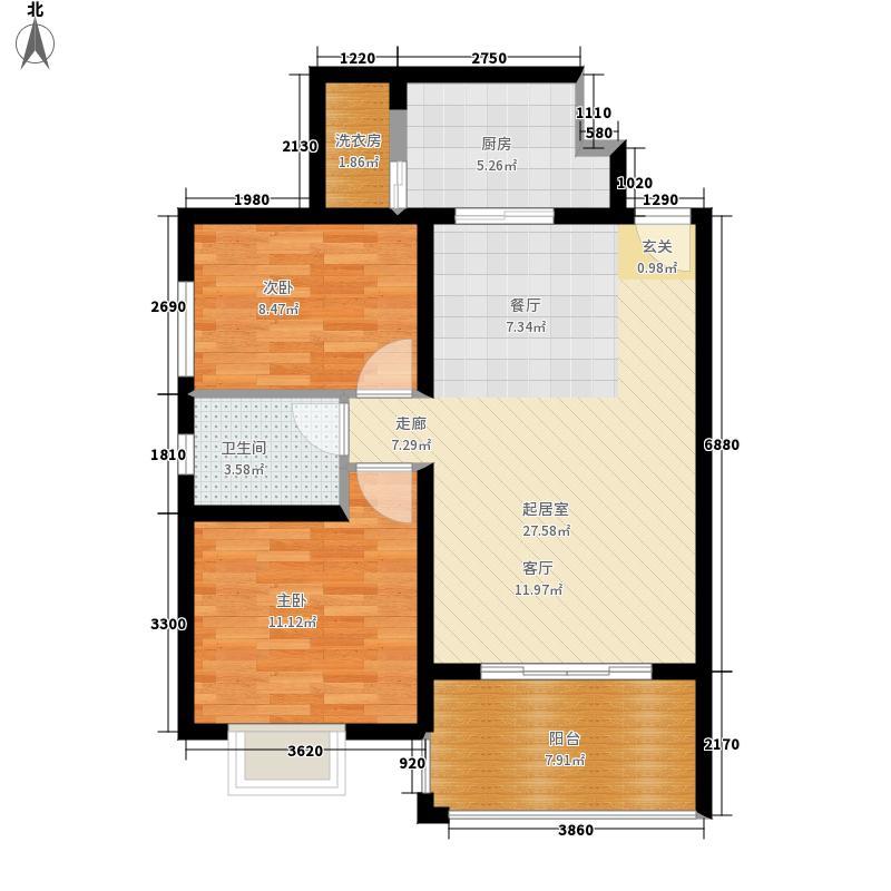 碧城旺丽庄园69.21㎡一期3号楼标准层C户型