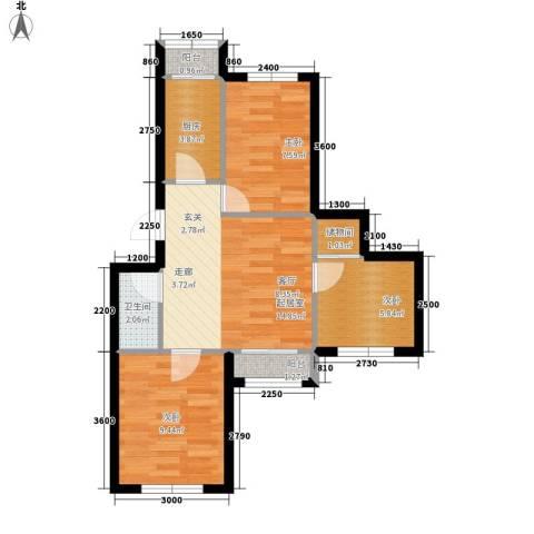 龙乡小区3室0厅1卫1厨68.00㎡户型图