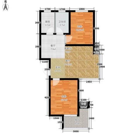 藏龙福地2室1厅1卫1厨86.00㎡户型图