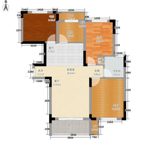 湘核佳苑3室0厅1卫1厨105.00㎡户型图