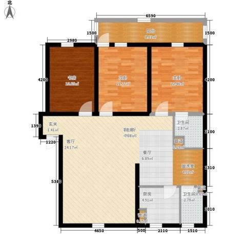 赤岗小区3室1厅2卫1厨139.00㎡户型图