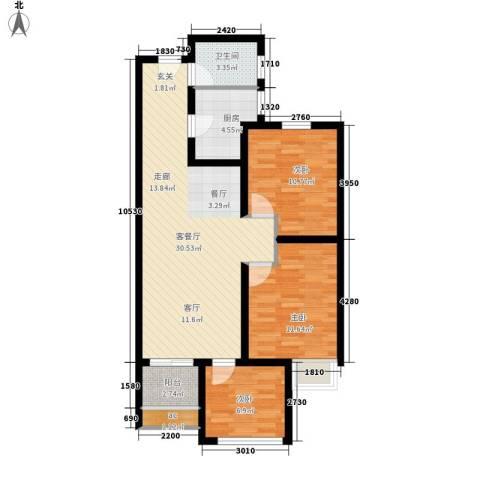 水半湾3室1厅1卫1厨95.00㎡户型图