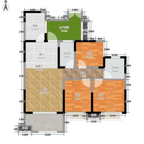领馆国际城3室1厅2卫1厨95.00㎡户型图