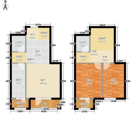 花香漫城2室1厅2卫1厨144.00㎡户型图