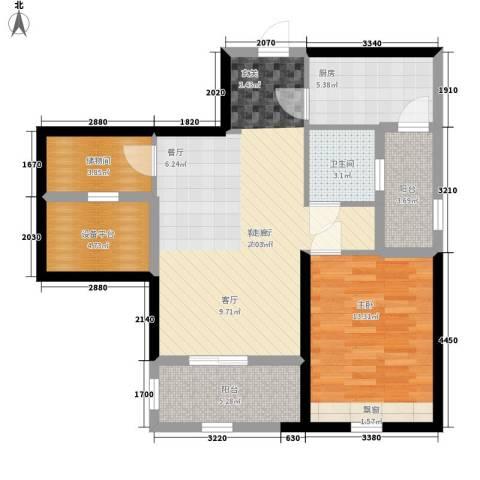棕榈湾1室1厅1卫1厨76.00㎡户型图