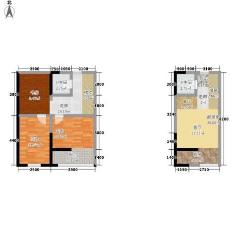 广天国际公寓2室0厅2卫0厨110.00㎡户型图