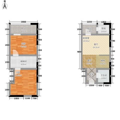 广天国际公寓2室0厅1卫1厨59.12㎡户型图