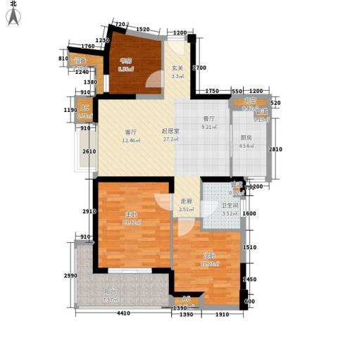 亚东国际公寓3室0厅1卫1厨109.00㎡户型图