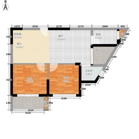 银轩铭誉2室0厅1卫1厨75.00㎡户型图
