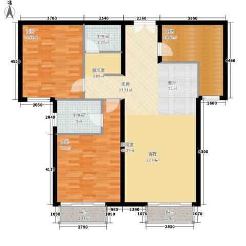 丽都壹号2室0厅2卫1厨114.00㎡户型图