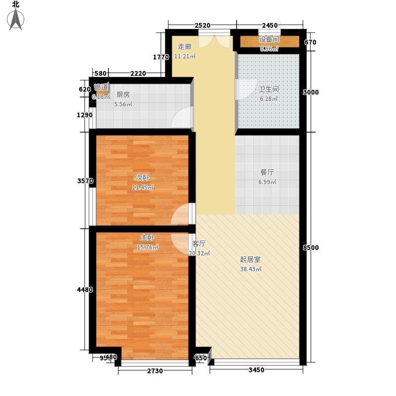 中广・宜景湾101.01㎡F1户型二室二厅一卫户型
