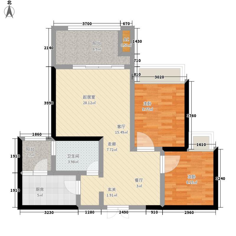 两江国际75.00㎡住宅D户型2室2厅