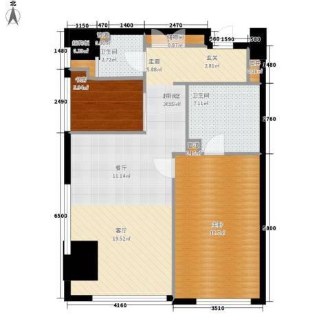 旷世国际2室0厅2卫0厨118.00㎡户型图