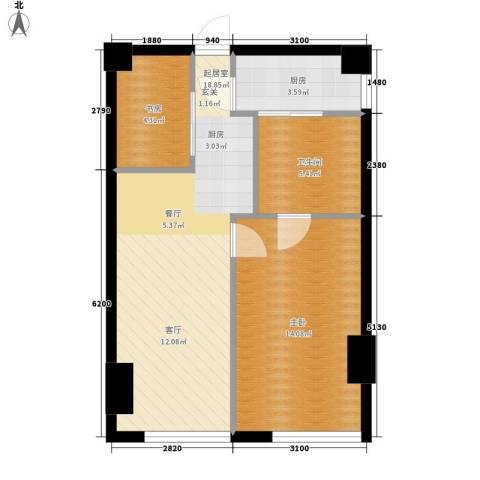 旷世国际2室0厅1卫1厨107.00㎡户型图