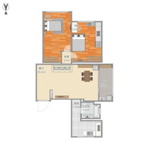 广联新苑2室1厅1卫1厨95.00㎡户型图