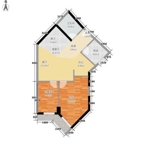 马赛国际公寓2室1厅1卫1厨77.00㎡户型图