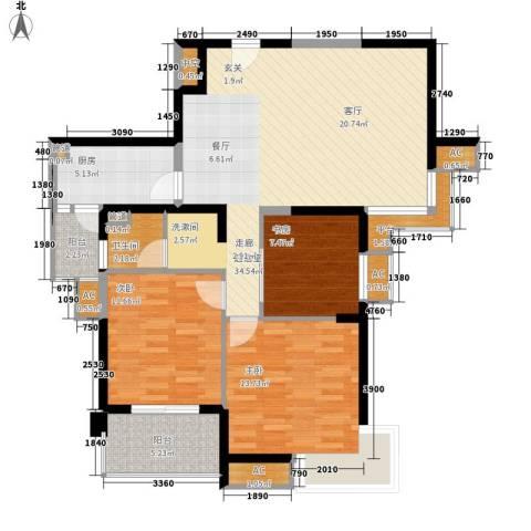 亚东国际公寓3室0厅1卫1厨126.00㎡户型图