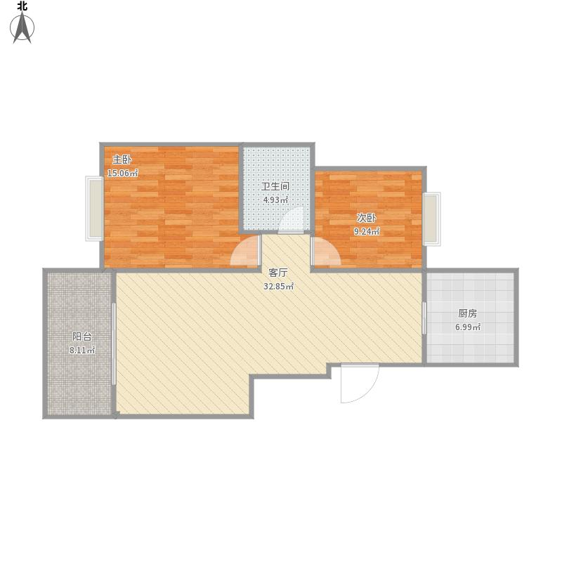 城际景苑88方户型两室一厅