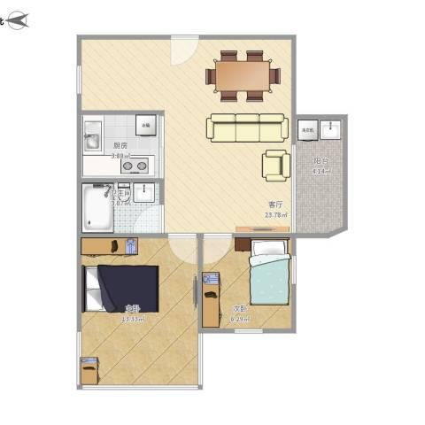 华夏花园2室1厅1卫1厨74.00㎡户型图