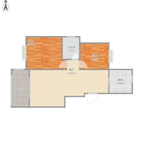 城际景苑2室1厅1卫1厨103.00㎡户型图