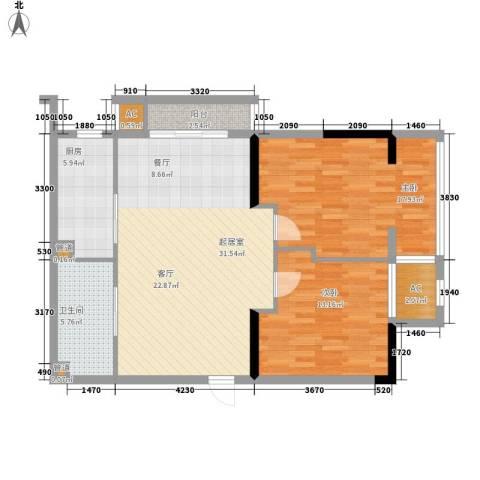 新澳蓝草坪2室0厅1卫1厨90.00㎡户型图