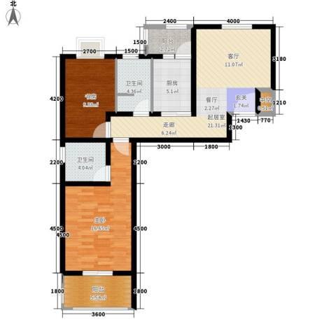 世纪桃花苑2室0厅2卫1厨89.00㎡户型图