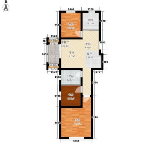 南岭小区3室1厅1卫1厨93.00㎡户型图