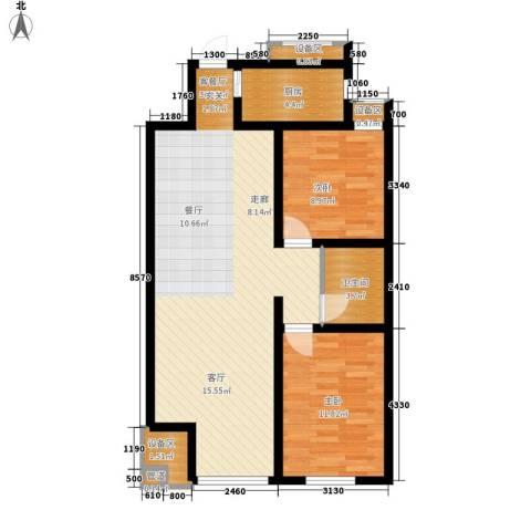 南岭小区2室1厅1卫1厨99.00㎡户型图