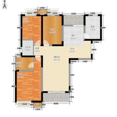 福邸铭门3室0厅2卫1厨133.00㎡户型图