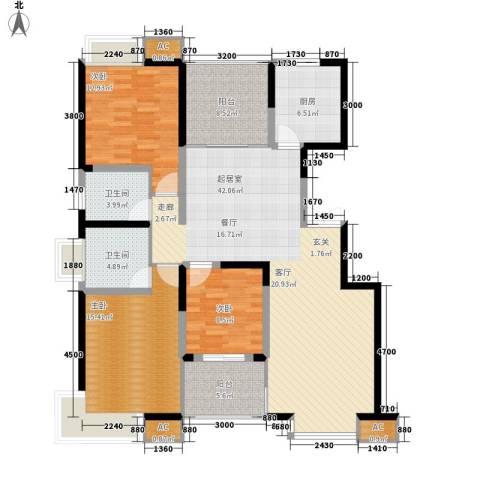 福邸铭门3室0厅2卫1厨143.00㎡户型图