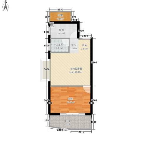 新锐湘都1室0厅1卫1厨55.00㎡户型图