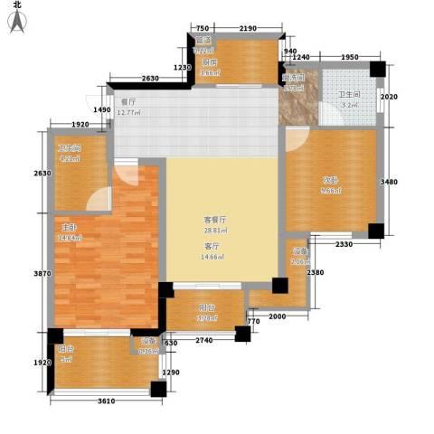 共和世家2室1厅2卫1厨89.00㎡户型图