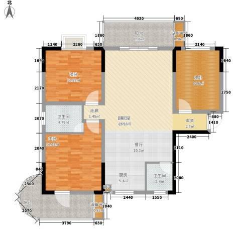鑫天山城明珠3室0厅2卫0厨124.00㎡户型图