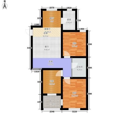 南岭小区3室1厅1卫1厨96.00㎡户型图