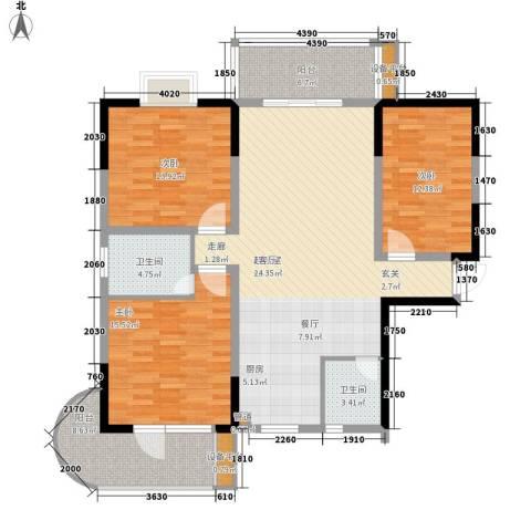 鑫天山城明珠3室0厅2卫0厨128.00㎡户型图