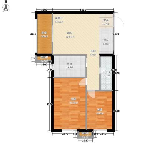 南岭小区2室1厅1卫1厨76.00㎡户型图