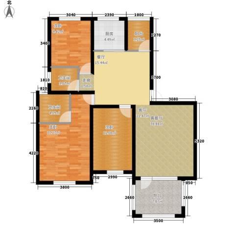 共和世家3室1厅2卫1厨125.00㎡户型图