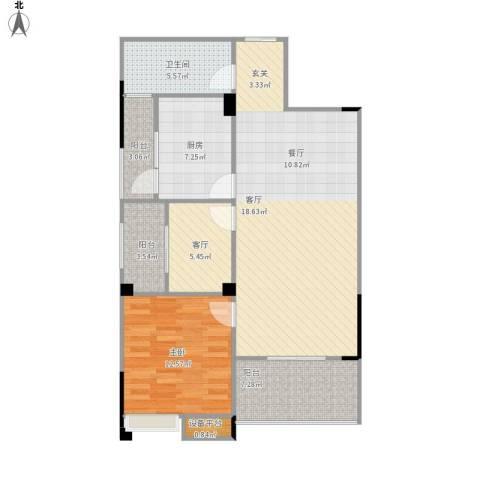 奥山星城1室2厅1卫1厨106.00㎡户型图