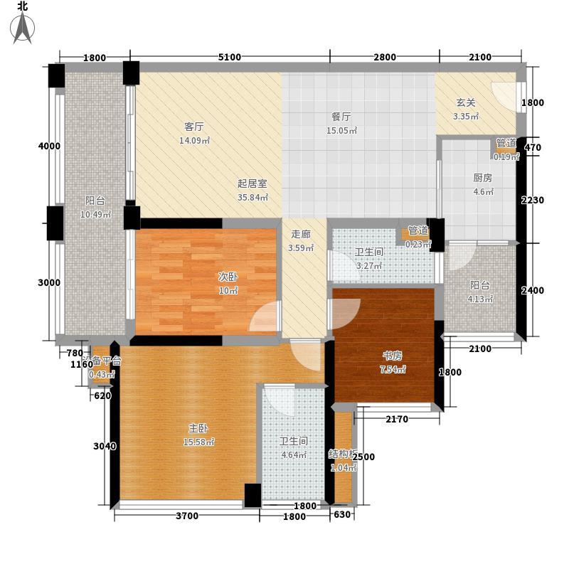 中德英伦联邦87.00㎡4、5、9#G户型3室2厅
