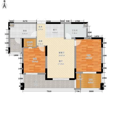 兰庭国际公馆2室1厅1卫1厨131.00㎡户型图
