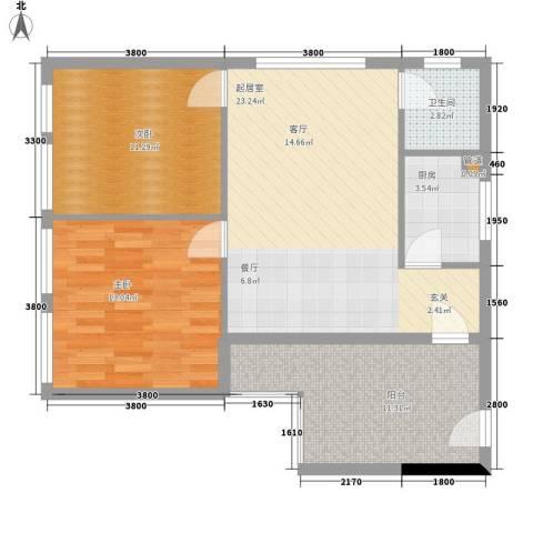 巧克力空间2室0厅1卫1厨84.00㎡户型图