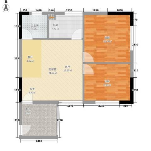 巧克力空间2室0厅1卫1厨80.00㎡户型图