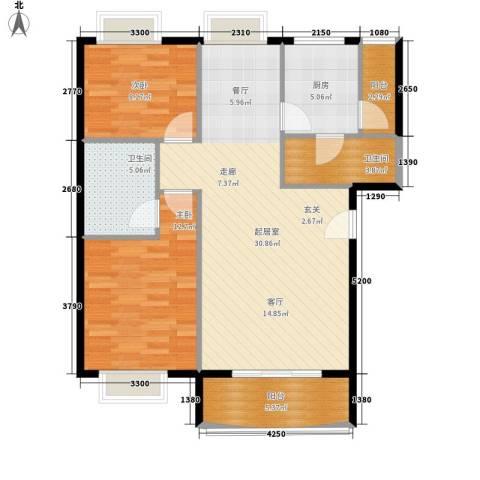富豪山庄盛翠华庭2室0厅2卫1厨102.00㎡户型图
