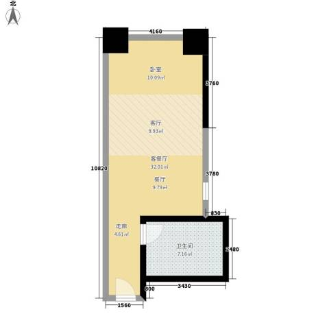 马赛国际公寓1厅1卫0厨45.00㎡户型图